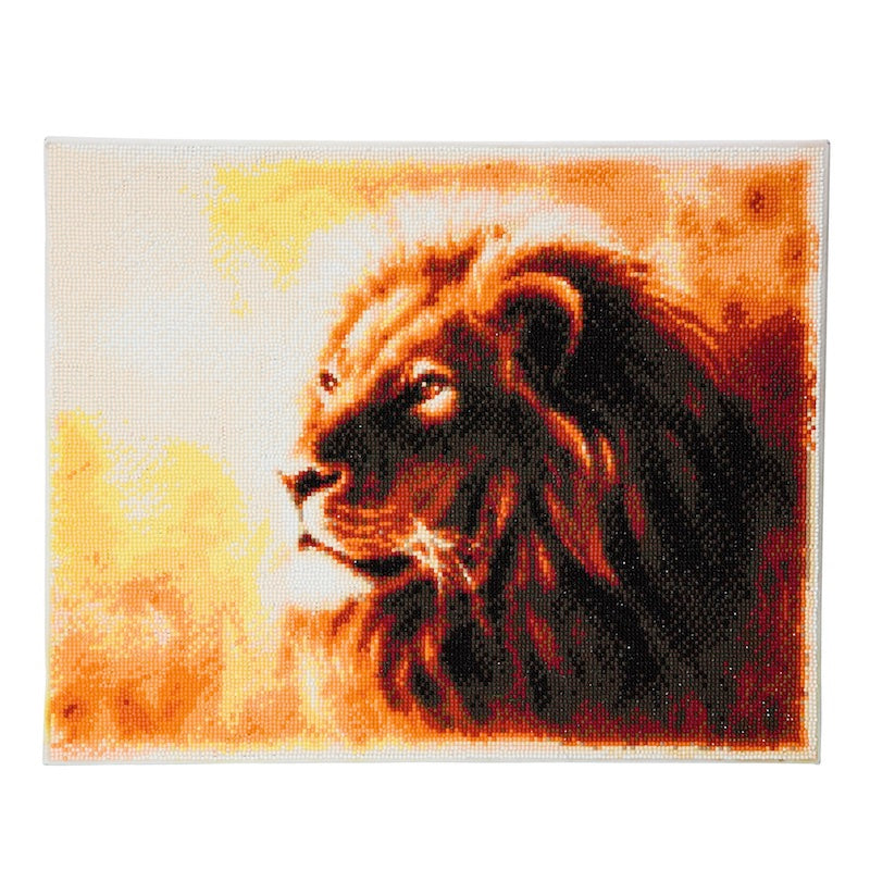 Crystal Art picture kit of a Lion by Craft Buddy - 40cm x 50cm - Peach Perfect