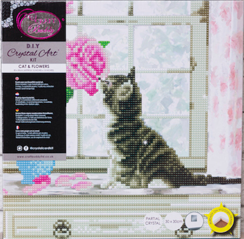 Cat & Flowers crystal art picture kit in packaging - Peach perfect