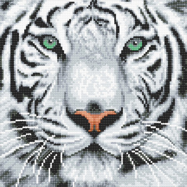 White tiger Crystal Art picture kit - Peach Perfect