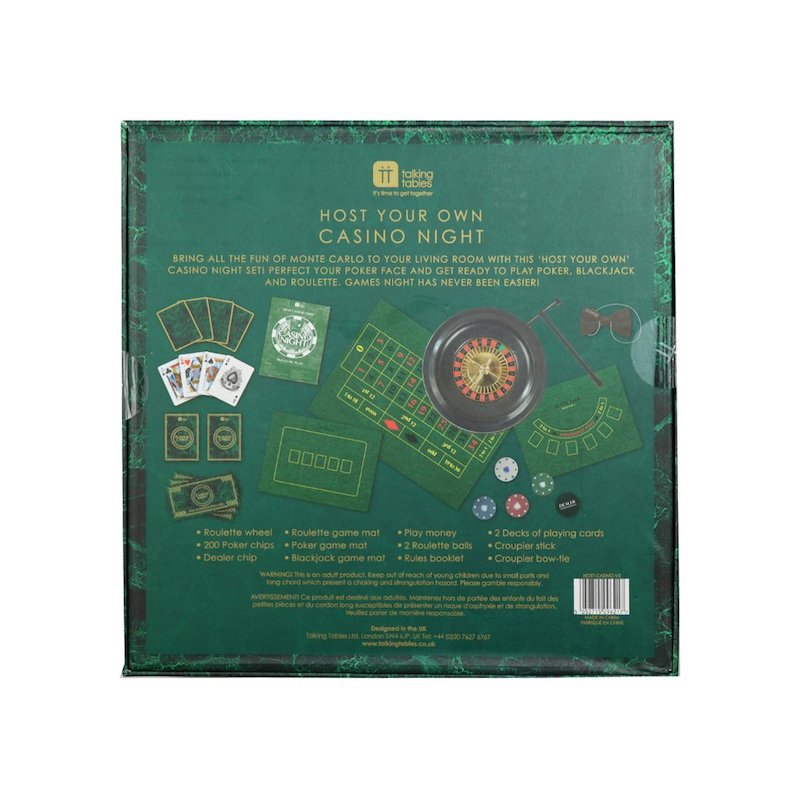 Casino Night Game by Talking Tables description on box - Peach Perfect