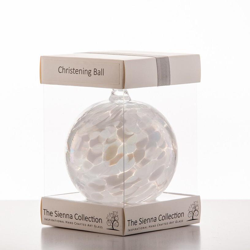 Christening friendship ball 10cm by Sienna Glass  - Peach Perfect