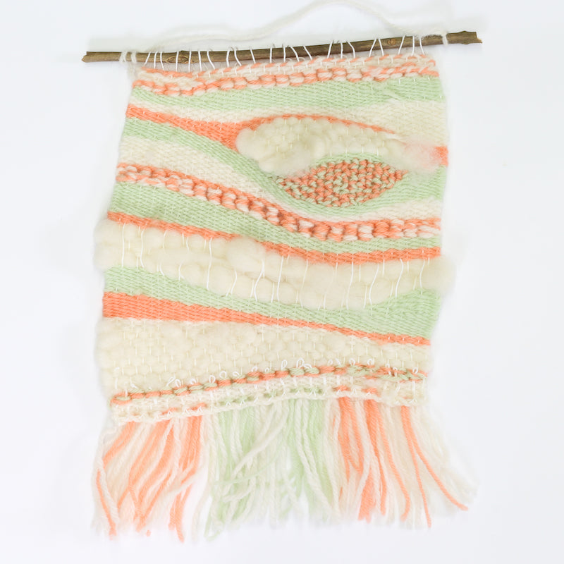 Coral & Mint Pop up loom weaving kit - finished tapestry -  Peach Perfect