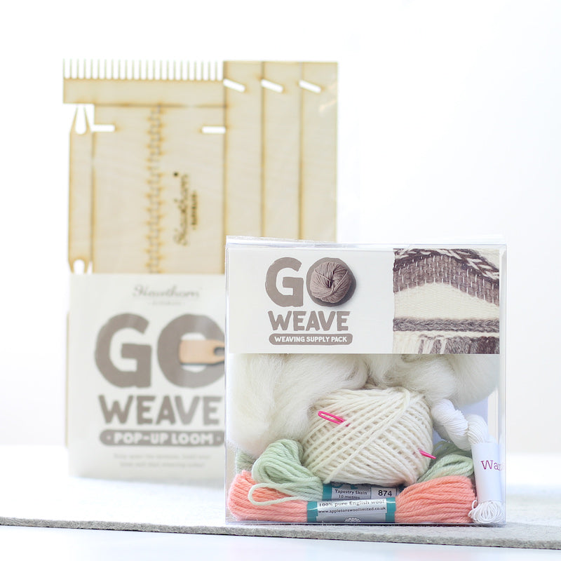 Coral & Mint Pop up loom weaving kit by Hawthorn Handmade -packaged -  Peach Perfect