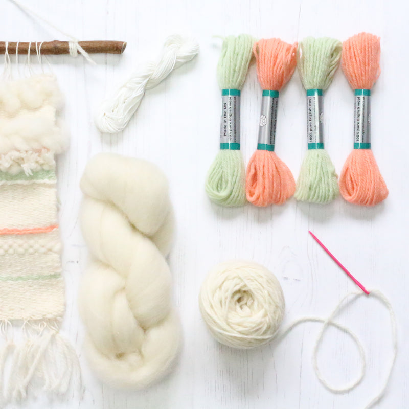 Coral & Mint Pop up loom weaving kit contents - Peach Perfect