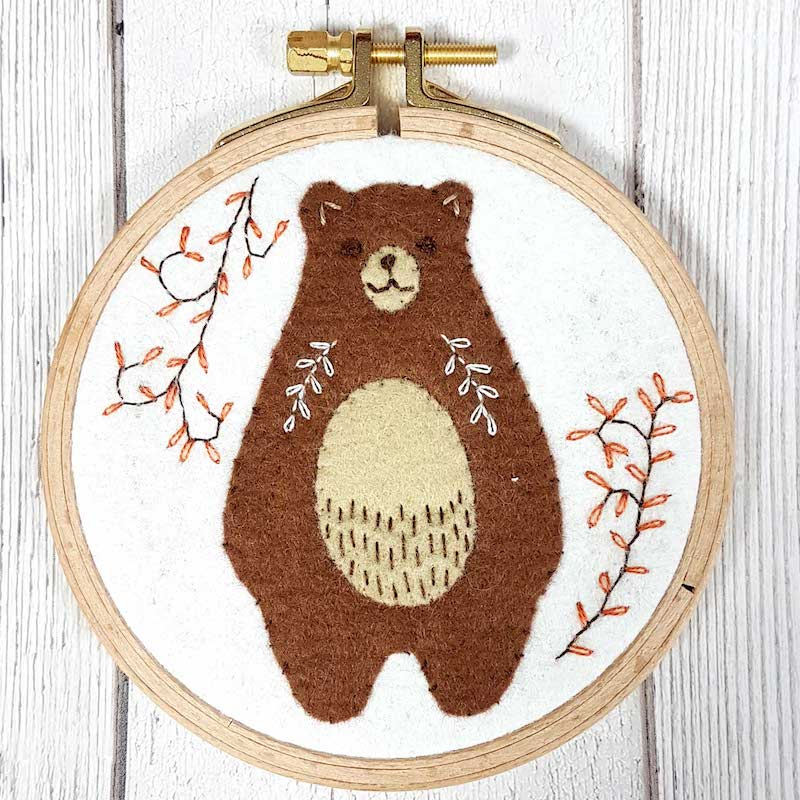 Folk Bear Felt Applique Embroidery Craft Kit  by Corinne Lapierre - Peach Perfect