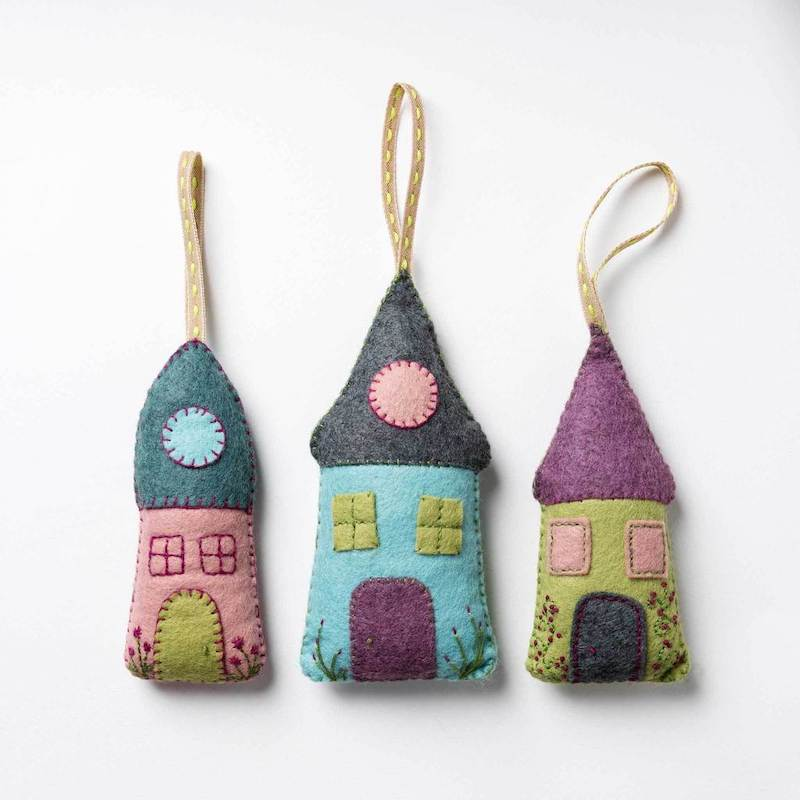 Corinne Lapierre Felt Lavender Houses  - Peach Perfect