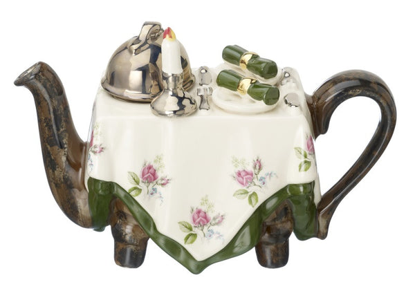 Dinner for two Novelty Teapot by Carters of Suffolk - Peach Perfect - 2