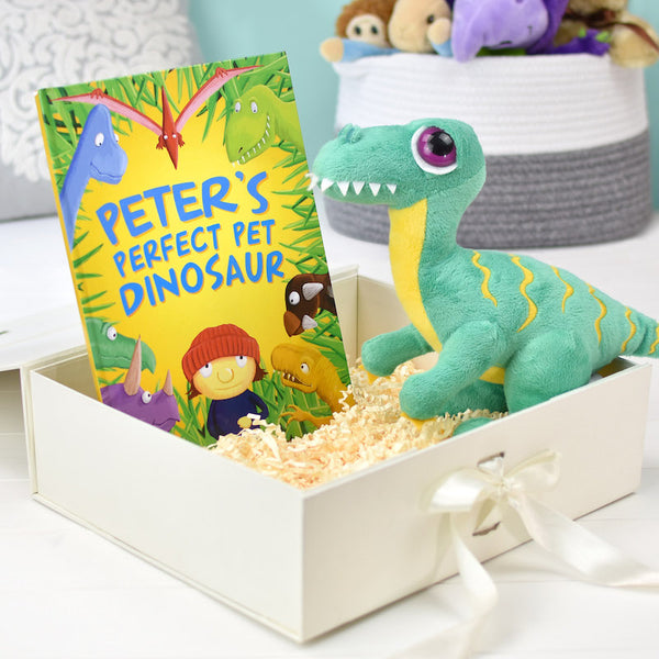 Perfect Pet Dinosaur personalised book and toy set - Peach Perfect
