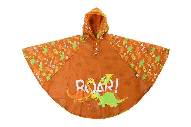 Kids rain poncho by Bugzz Kids Stuff - Dinosaur - Peach Perfect