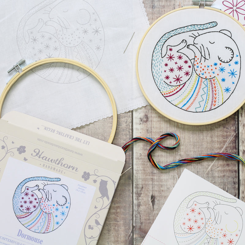 Dormouse embroidery kit contents - Peach Perfect