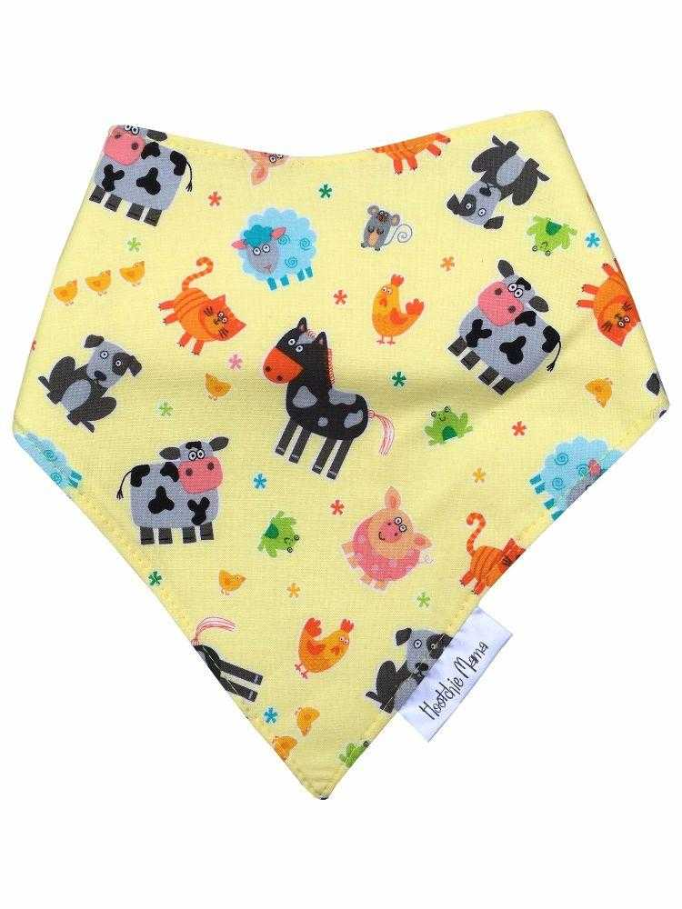 Bandana dribble bib - Farmyard - Peach Perfect