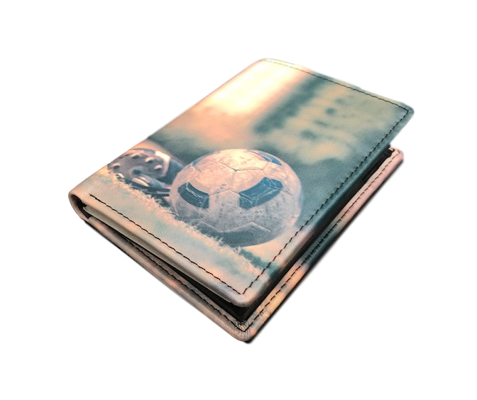 Kalmin leather football wallet - side view - Peach Perfect