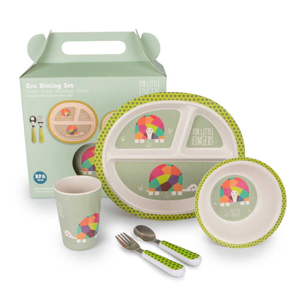 For little fingers bamboo dinner set - tortoise - Peach Perfect