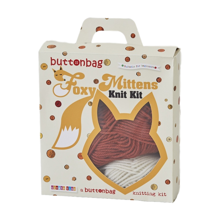 Foxy mitten knitting kit by Buttonbag - Peach Perfect