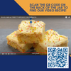 Funfetti cake squares with QR code to video