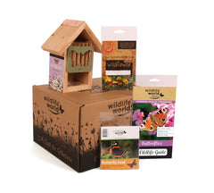 Butterfly gift set contents - Butterfly Barn, Butterfly food, Butterfly guide, with Wildlife World branded cardboard gift box