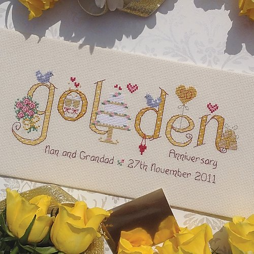 Golden wedding anniversary cross stitch sampler kit by Nia - Peach Perfect