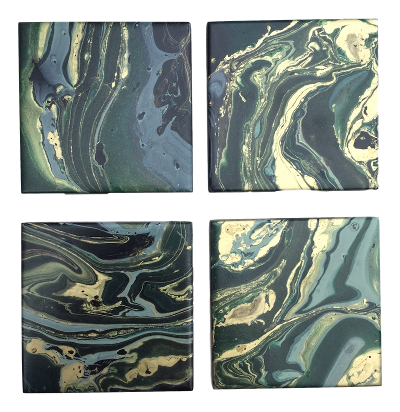 Green, Gold and black and decorated coasters by Elemental Designware - Peach Perfect