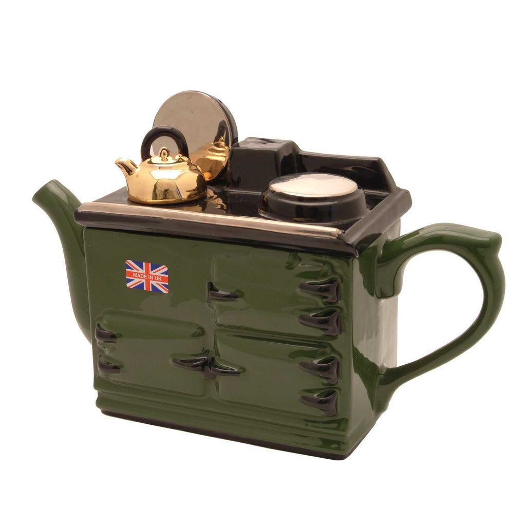 Green aga full-size teapot by Carters of Suffolk - peach Perfect