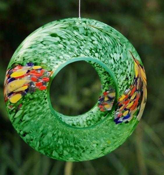 Sienna glass bird feeder - green - in situ - Peach Perfect