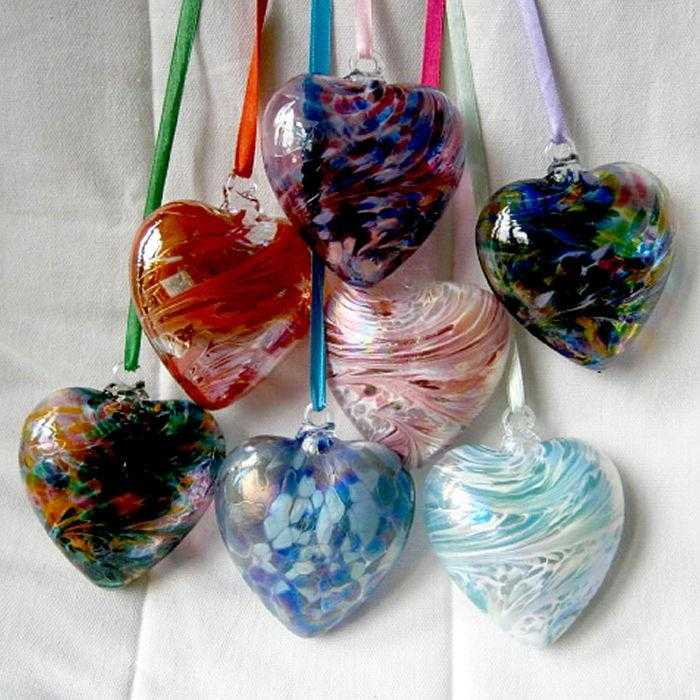 Art Glass Hearts - Peach Perfect - 1