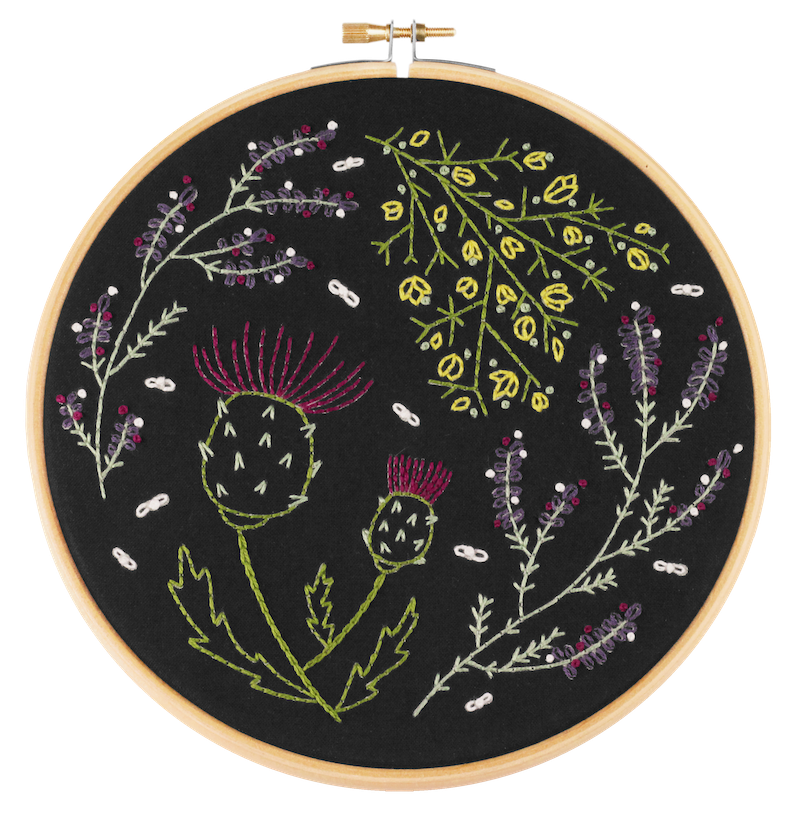 Highland Heather embroidery kit on black background in hoop -  Hawthorn Handmade - Peach Perfect