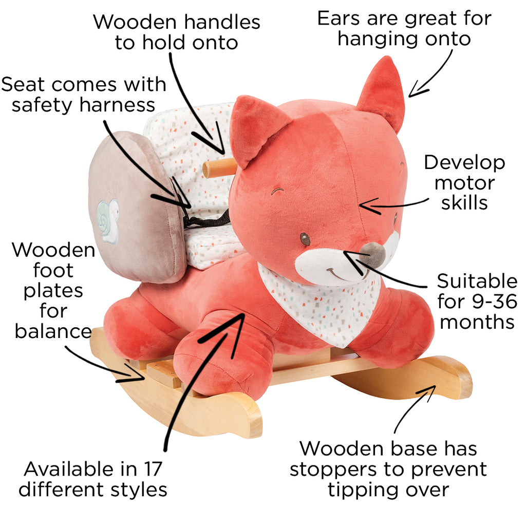 Oscar the Fox Nattou rocker safety features - Peach Perfect
