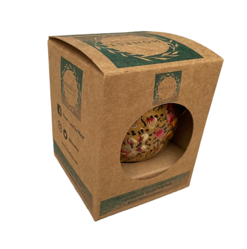 Paper mâché bauble in the simple recyclable cardboard presentation box