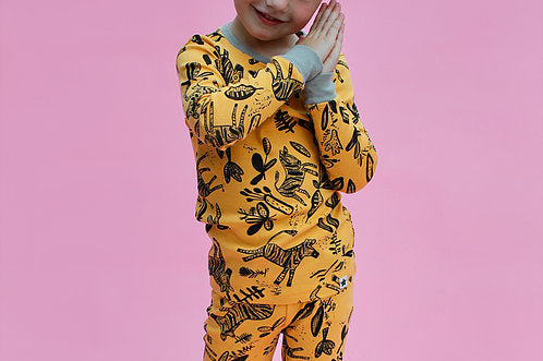 Jammie Doodles yellow zebra design pyjamas - Peach Perfect