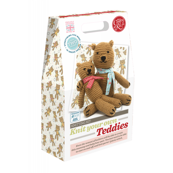 Teddies knitting kit from the Crafty Kit Company - Peach Perfect