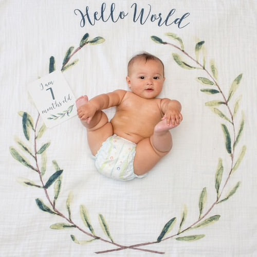 Happy baby holding toes in the middle of a circular leaf and twig design on a cream background with Hello World printed at the top of the baby blanket and a 'I am 7 months old' milestone card