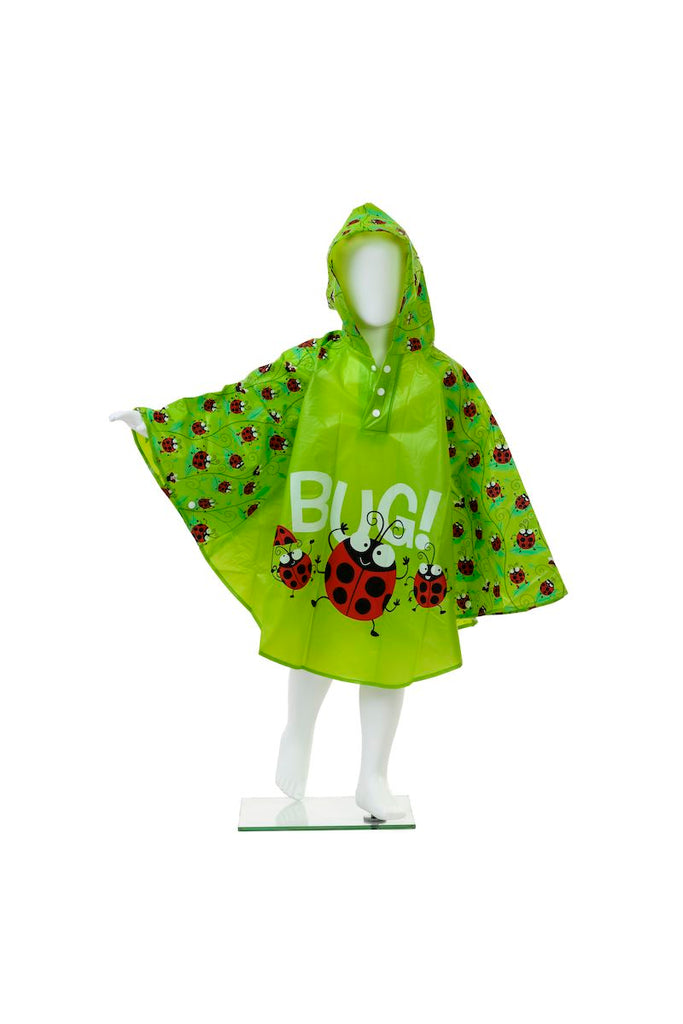 Kids rain poncho by Bugzz Kids Stuff -on model - Peach Perfect