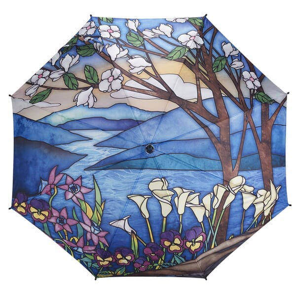 Landscape stained glass design folding umbrella by Galleria - Peach Perfect