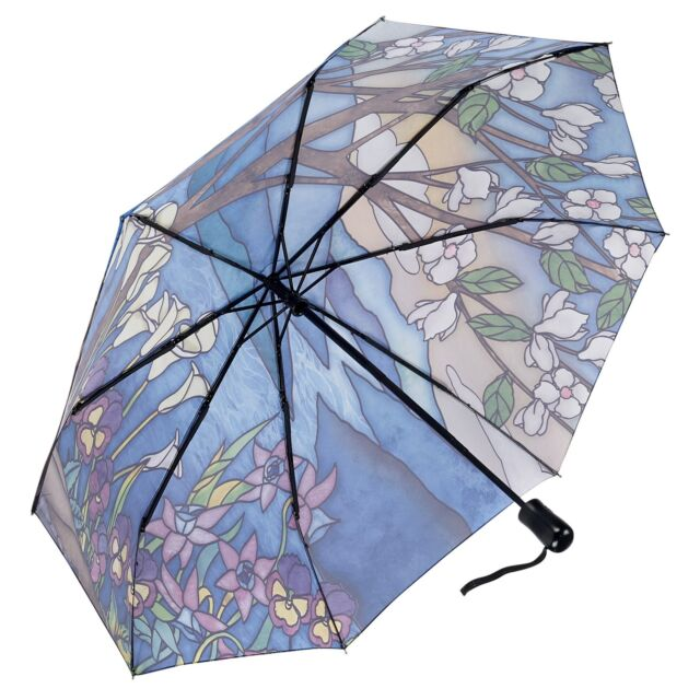 Landscape stained glass design folding umbrella from inside canopy - Peach Perfect