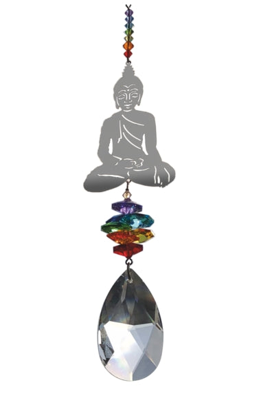 Buddha suncather ornament with large Swarovski crystal - Peach Perfect