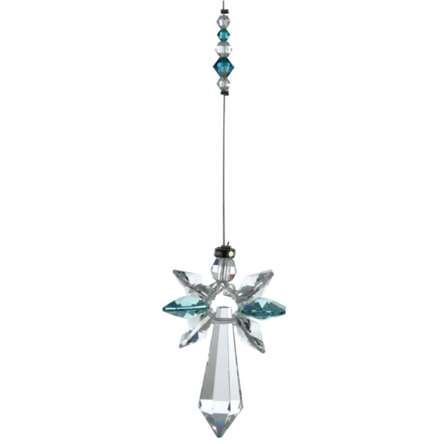Large Crystal Guardian Angel - Blue Zircon - Peach Perfect
