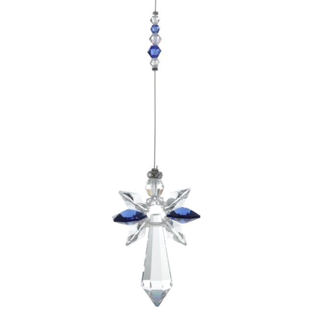Large hanging Crystal ornament depicting a Guardian Angel with Dark Sapphire crystals