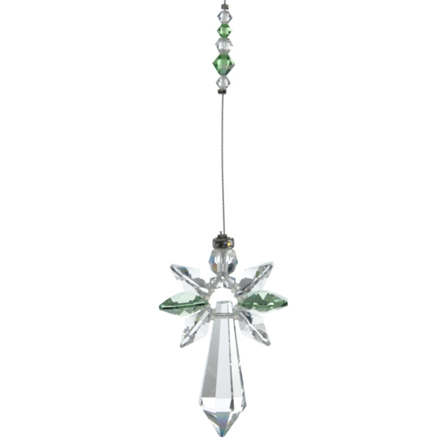 Large Crystal Guardian Angel - Peridot - Peach Perfect