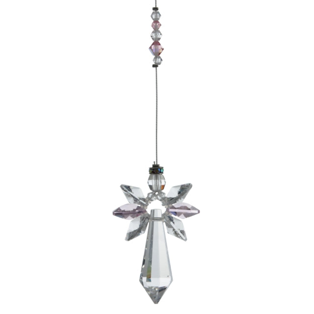 Large Crystal Guardian Angel - Rose - Peach Perfect