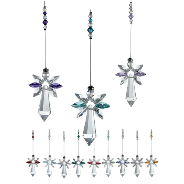 12 hanging angel ornaments each with a pendant style large Swarovski crystal and 6 smaller crystals making the wings, two of which are in different birthstone colours. The hanging thread also has small beads in birthstone colours.