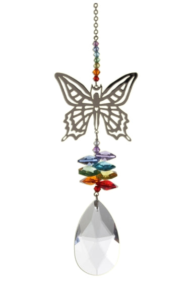 Large Butterfly suncatcher with Swarovski crystals - Peach Perfect