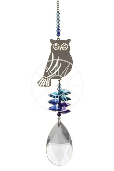 Swarovski crystal suncatcher - Owl _ Peach Perfect