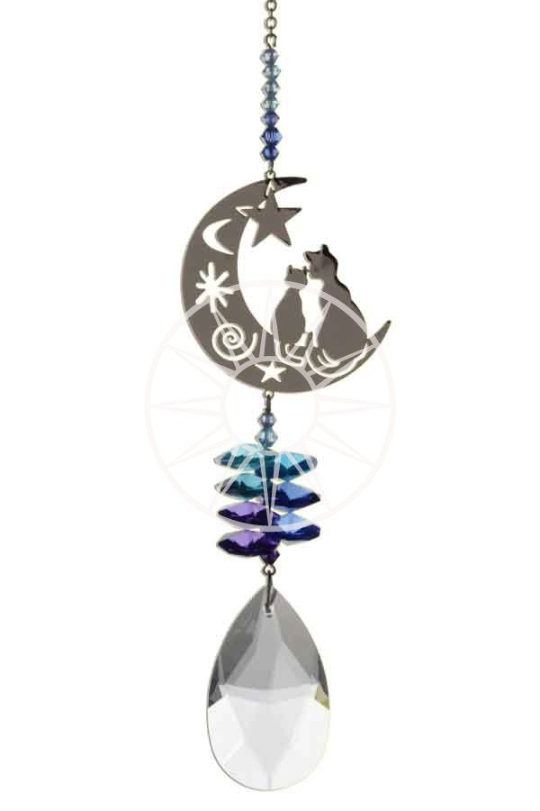 Swarovski crystal suncatcher - Cats in the moon - Peach Perfect