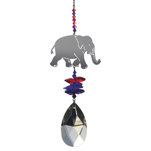 Large elephant Swarovski crystal sunbather by Wild Things Gifts - Peach Perfect