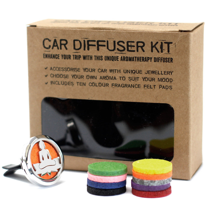 Car diffuser kit box which shows the text enhance your trip with this unique aromatherapy diffuser. Accessories your car with unique jewellery. Choose your own aroma to suit your mood. Includes ten colour fragrance pads.