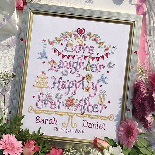 Love, laughter wedding sampler cross stitch kit by Nia - Peach Perfect