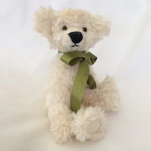 White mohair teddy bear kit - 18cm - Peach Perfect