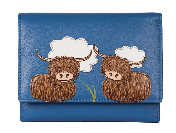 Bella highland cow leather purse by Mala - Peach Perfect
