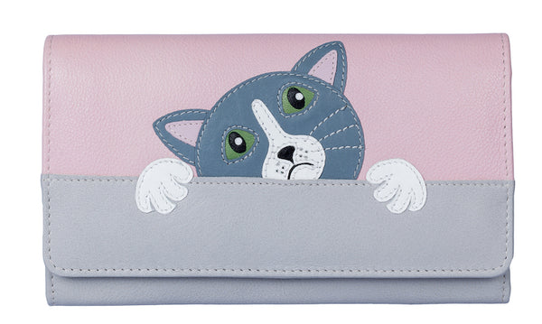 Leather 'Feed me' cat matinee purse by Mala - Peach Perfect
