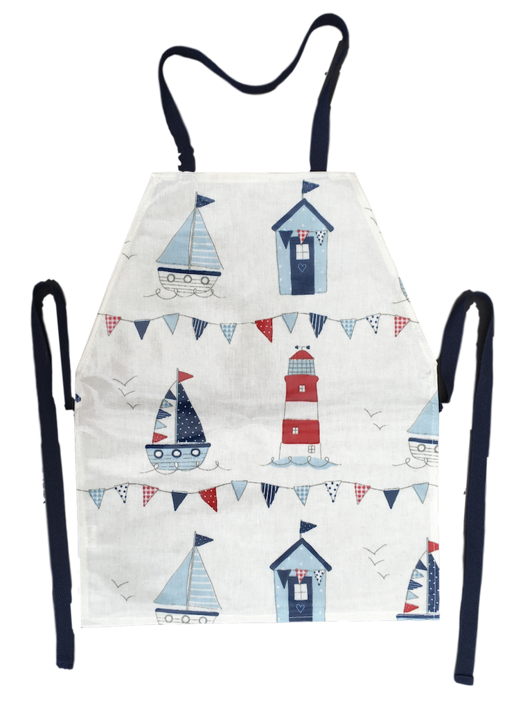 Kids PVC coated apron with a maritime design edged finished with blue